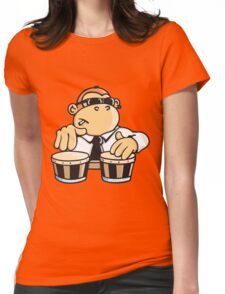 The cool monkey plays the bongos Womens Fitted T-Shirt
