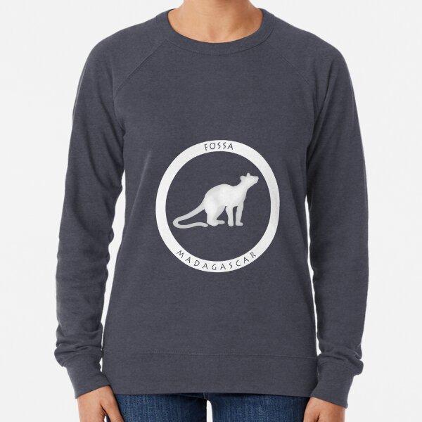 Fossa Madagascar wildlife - white print Lightweight Sweatshirt
