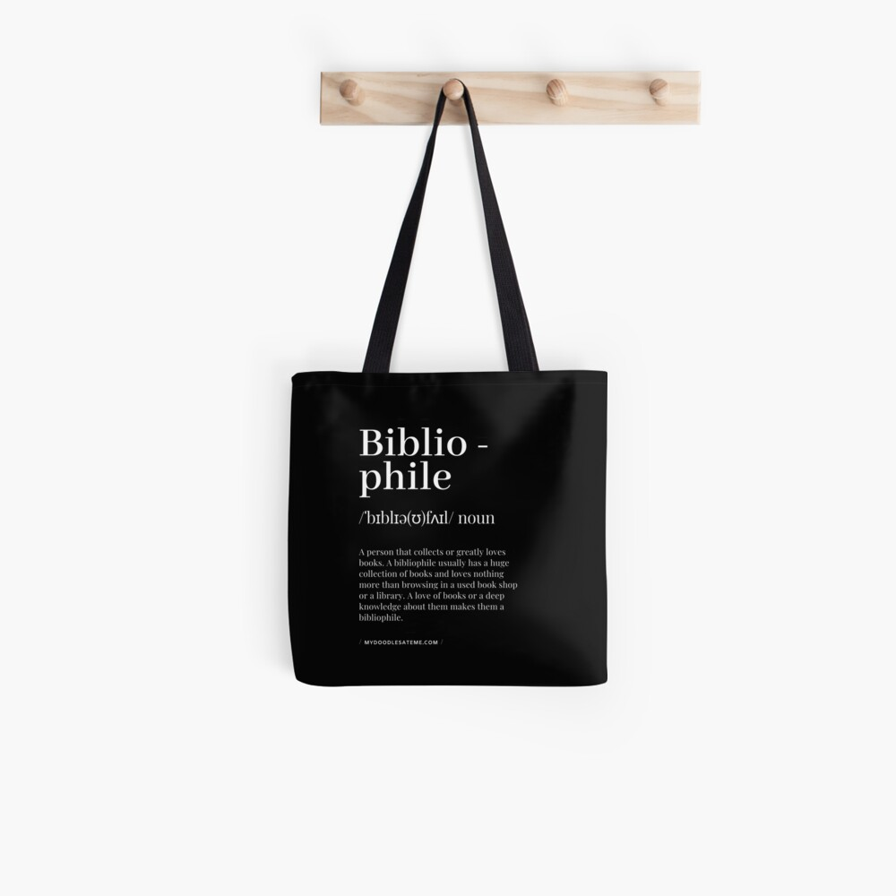 Bibliophile Definition - Noun - Readers Dictionary (Black) Tote Bag