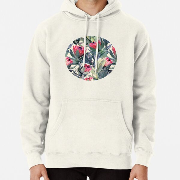 Painted Protea Pattern Pullover Hoodie