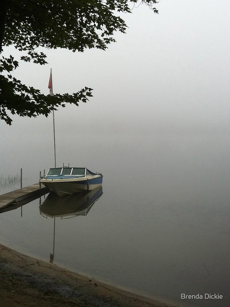 Fog over the lake by Brenda Dickie