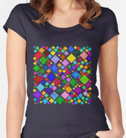 #DeepDream Color Squares Visual Areas 5x5K v1448787318 Transparent background Fitted Scoop T-Shirt