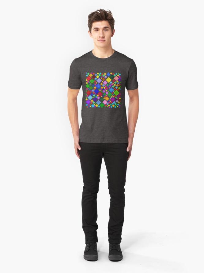 Alternate view of #DeepDream Color Squares Visual Areas 5x5K v1448787318 Transparent background Slim Fit T-Shirt