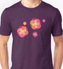 Retro-Pink Flowers Unisex T-Shirt