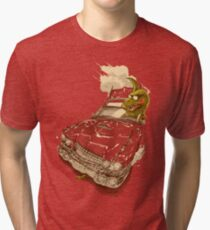 Dinosaur on a Cadillac Tri-blend T-Shirt