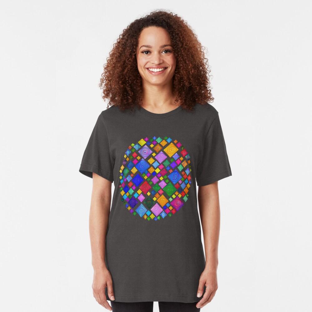 #DeepDream Color Squares Square Visual Areas 5x5K v1448810610 Transparent background Slim Fit T-Shirt