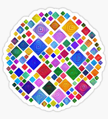 #DeepDream Color Squares Square Visual Areas 5x5K v1448810610 Transparent background Sticker