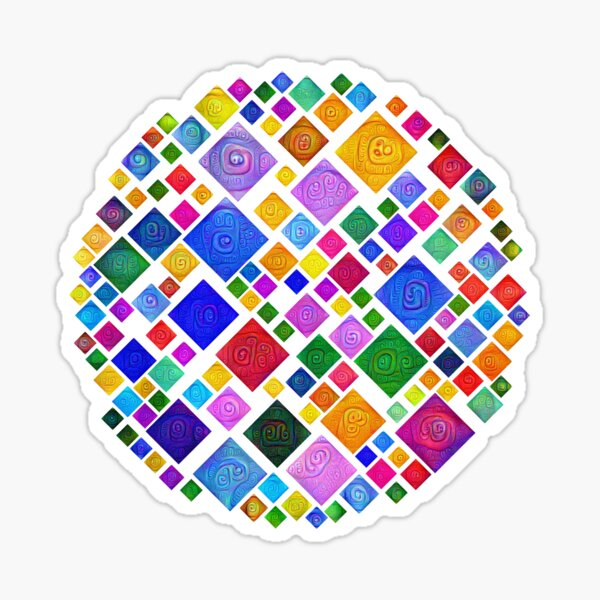 #DeepDream Color Squares Square Visual Areas 5x5K v1448810610 Transparent background Sticker