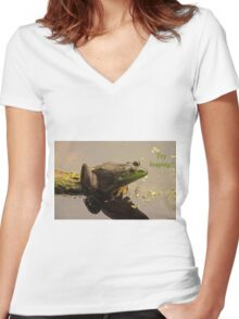 Try Leaping Women's Fitted V-Neck T-Shirt