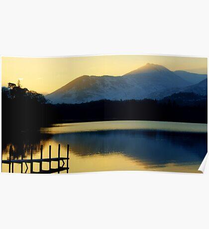 Winter Sunset On Derwent Water Poster