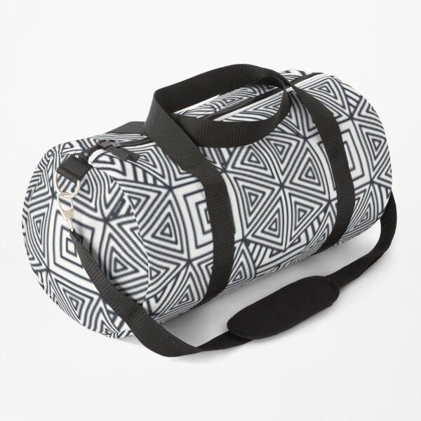 Decoration of minimalist interlocking square and diamond geometric shapes Duffle Bag