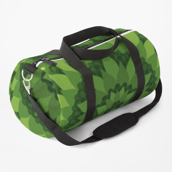 Decoration of green circular geometrical shapes in mandalas Duffle Bag