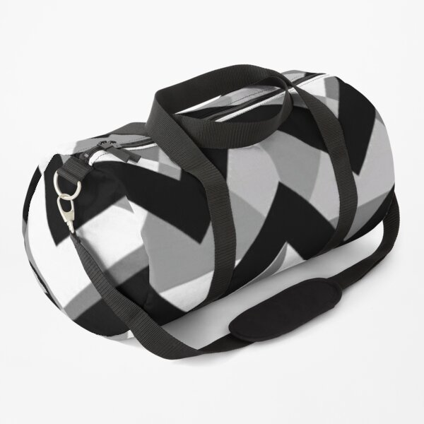 Rectangular geometrical decoration with small rhombuses of different colours: white, black and grey. Duffle Bag