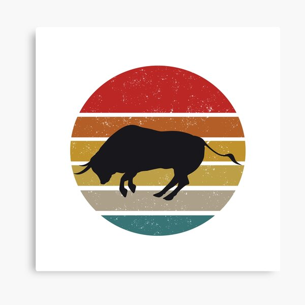Canvas picture he XXL Pop Art Bull Arena Bull Abstract Colourful Wall Poster