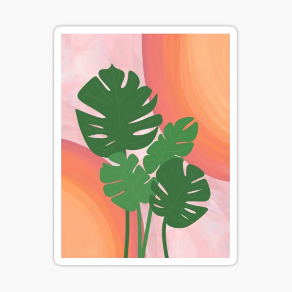 Warm Watercolor and Tropical Plants Sticker