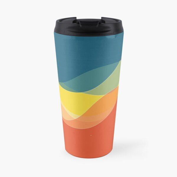 Retro 70s and 80s Colors Fluid Wave Abstract Art Travel Mug