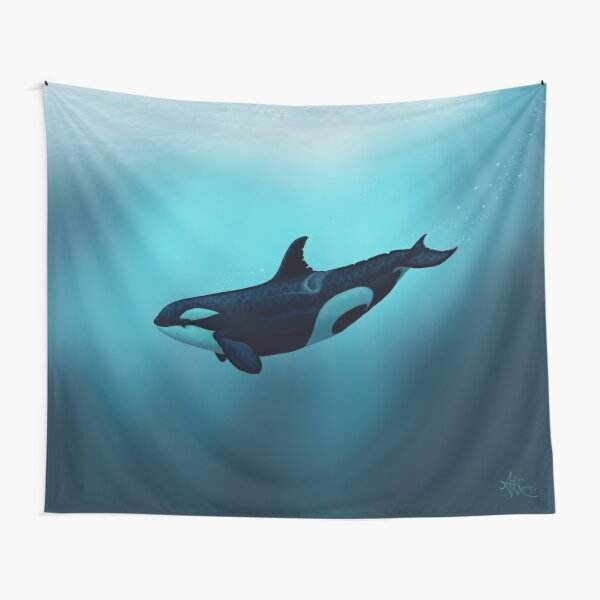"""""""Lost in Serenity"""" by Amber Marine ~ orca / killer whale art, © 2015 Tapestry"""