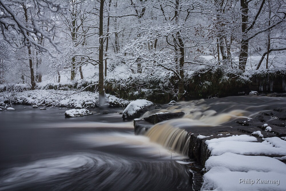 Hebden Water in snow by Philip Kearney