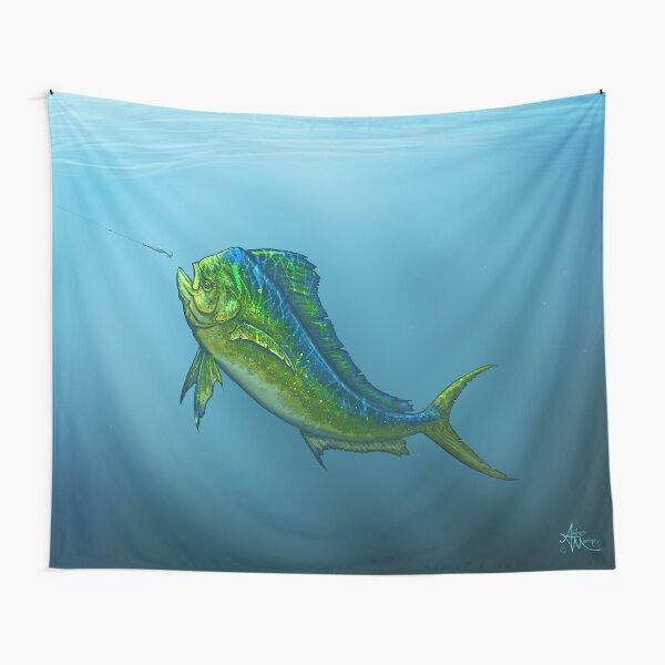 """""""El Dorado"""" by Amber Marine ~ mahi mahi / dolphin fish art, © 2015 Tapestry"""