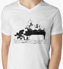 Camiseta para hombre de cuello en v Pasión del piano