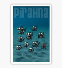 Shoal of Daft Piranha with old Duffer Fish Sticker