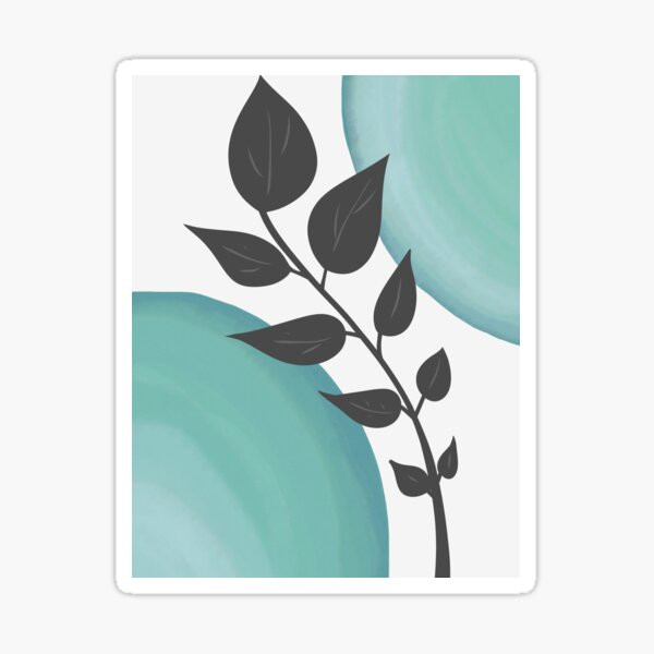 Blue Green Watercolor and Gray Plant Sticker