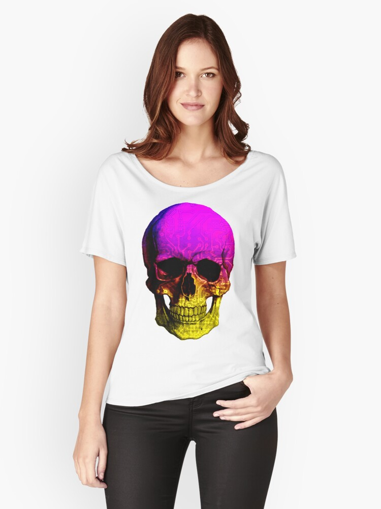 Skull circuit in a digital code. Women's Relaxed Fit T-Shirt Front