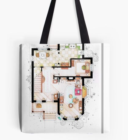 The House from UP - Ground Floor Floorplan Tote Bag