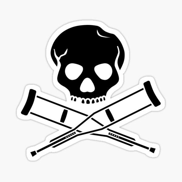 cross crutches and skull (black) Sticker