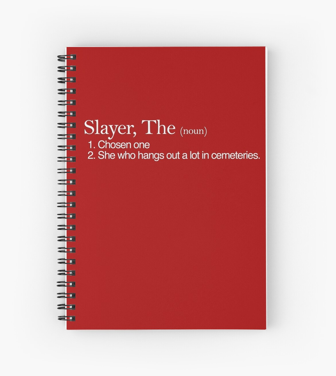 """slayer, the definition (white type)"""" spiral notebooks by tpejoves"""