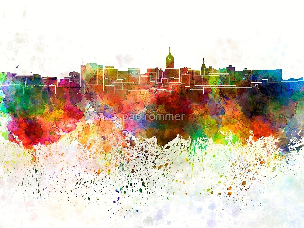 Lansing skyline in watercolor background by paulrommer