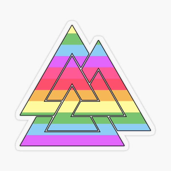 Rainbow Valknut Transparent Sticker