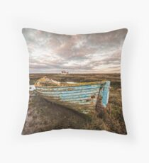 The Blue Boat Throw Pillow