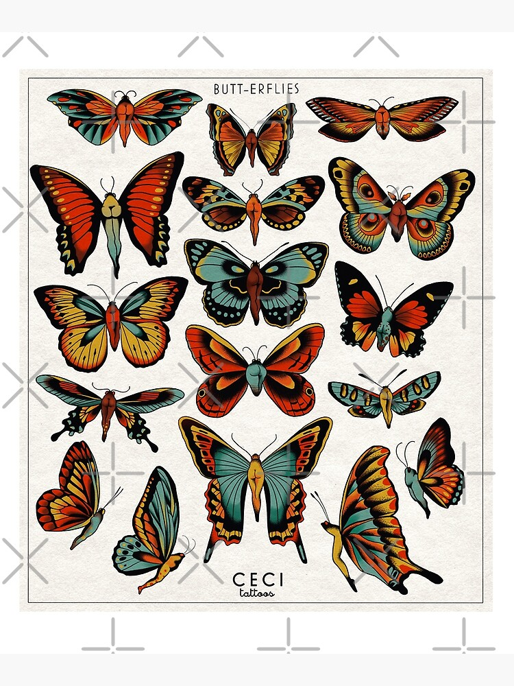 Butterflies traditional tattoo flash by ceciliagranata