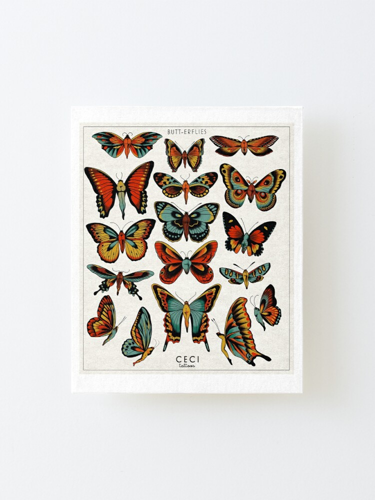 Alternate view of Butterflies traditional tattoo flash Mounted Print