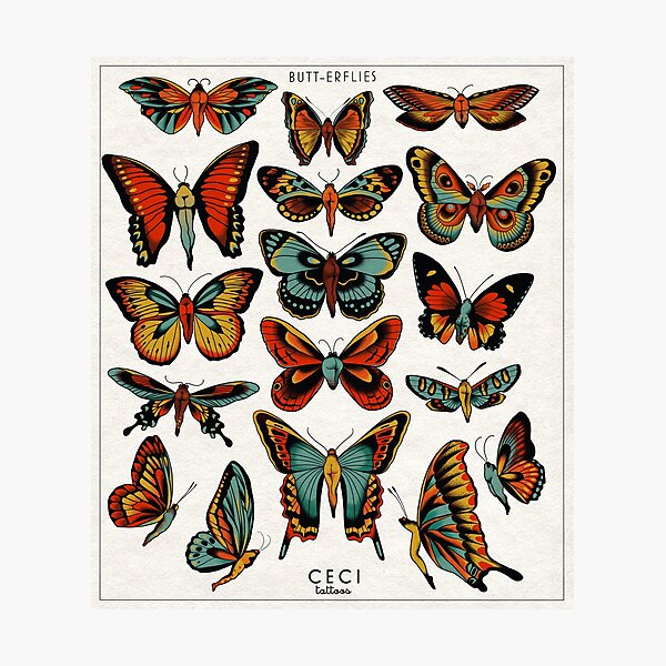 Butterflies traditional tattoo flash Photographic Print