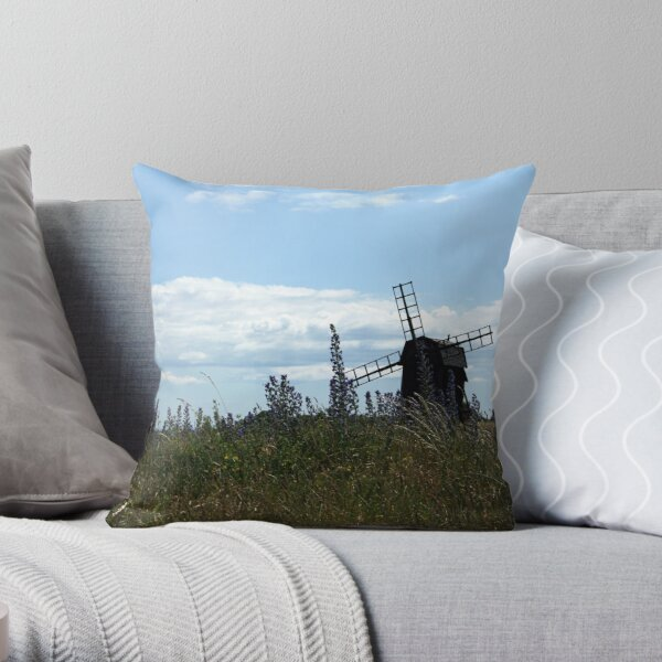 Windmill on Öland Throw Pillow