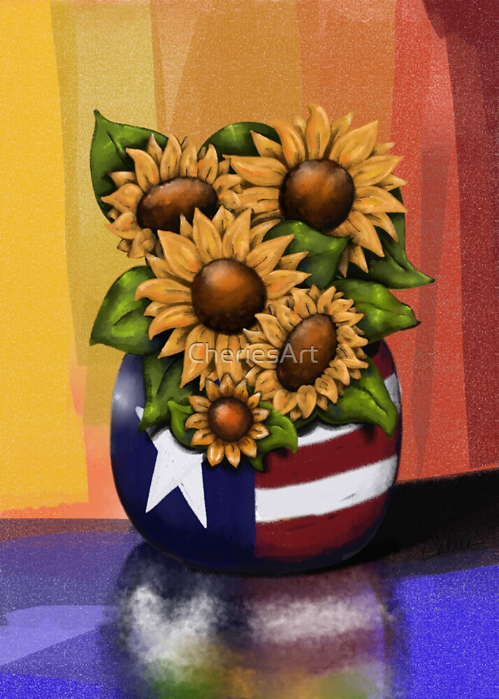 Americana Sunflowers by CheriesArt
