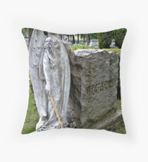 Mourning Angel in Contemplation Throw Pillow