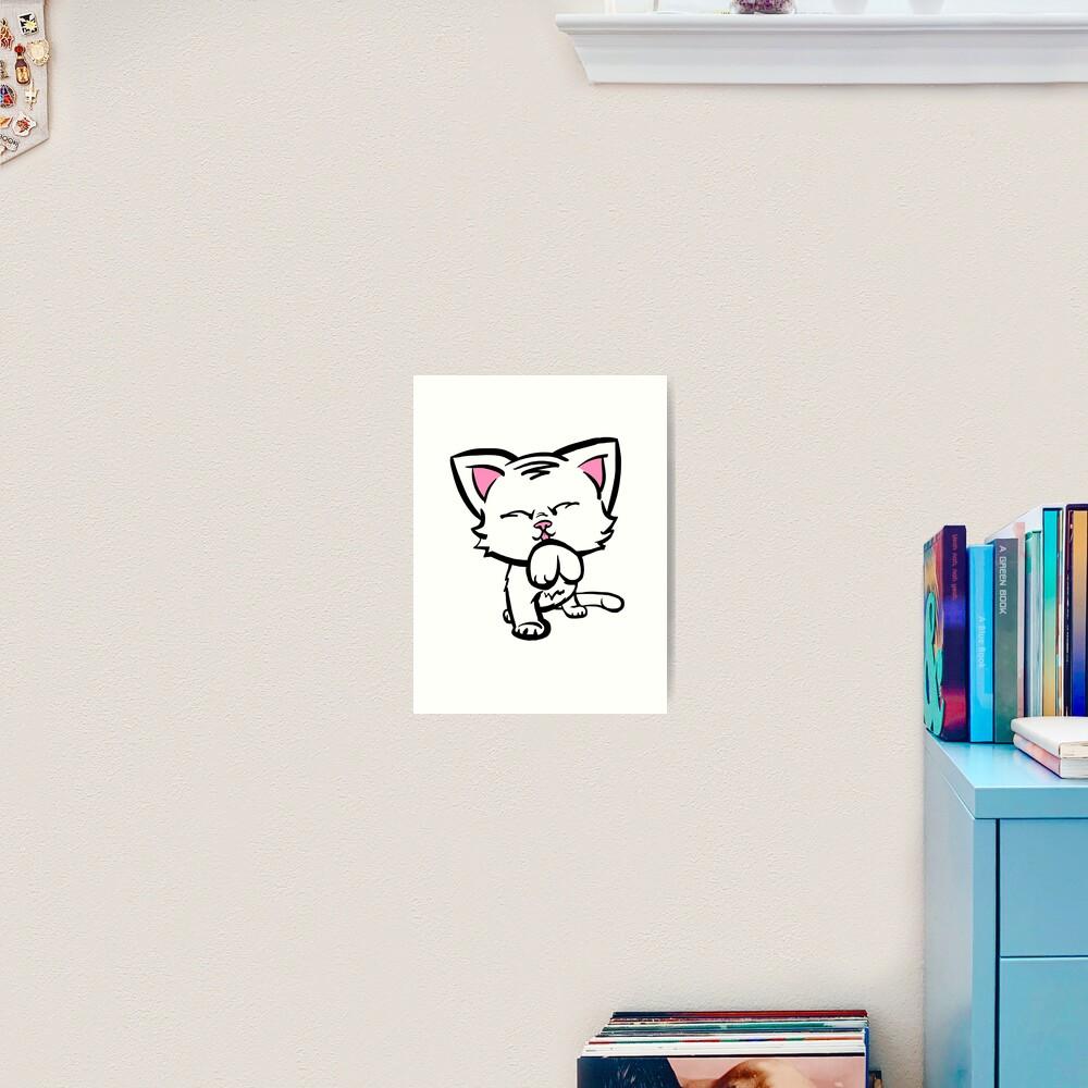 Kitten Cleaning (white) Art Print