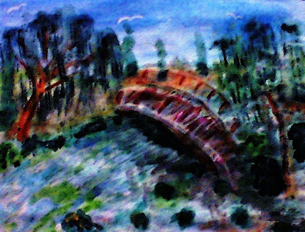 My version #5 of the Japanese Bridge,a Monet, watercolor by Anna  Lewis, blind artist