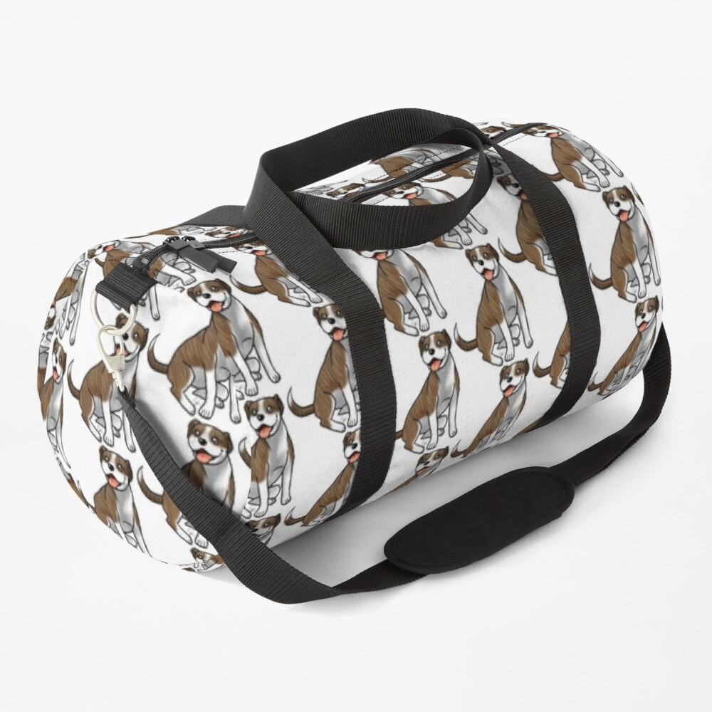 American Pit Bull Terrier - Brindle and White Duffle Bag