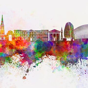 Leicester-Skyline im Aquarellhintergrund von paulrommer