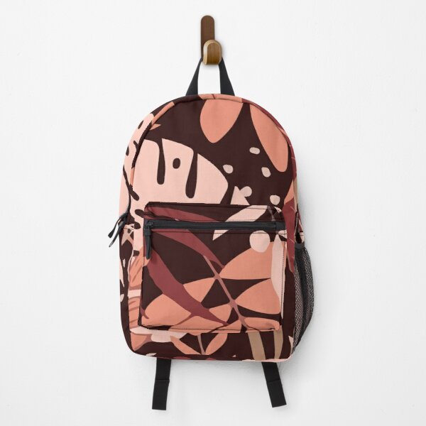 Marsala tones with tropical leaves Backpack