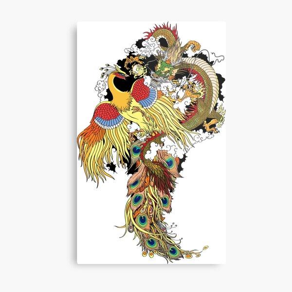Chinese dragon and gold phoenix Metal Print