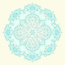 Aqua Lace Mandala on Cream - customer request by micklyn