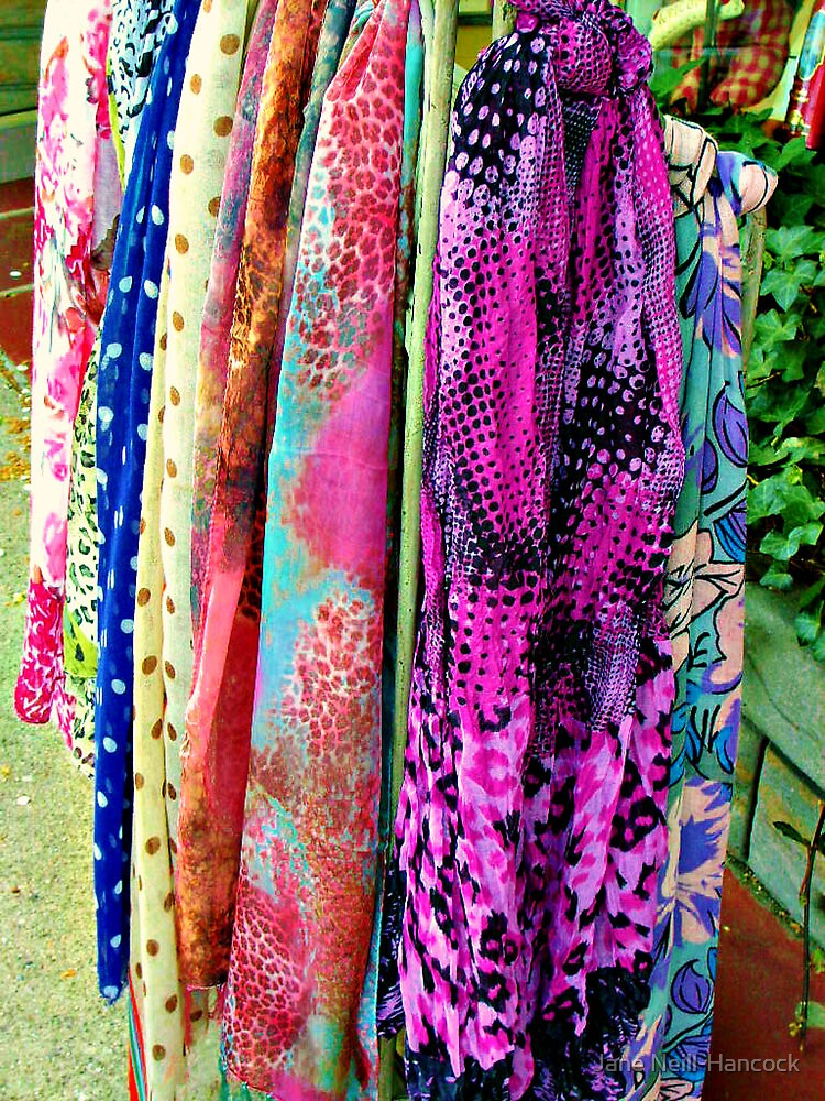 A Rainbow of Scarves For Sale by Jane Neill-Hancock