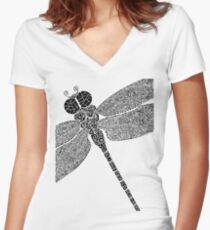 Dragon Fly Doodled Women's Fitted V-Neck T-Shirt