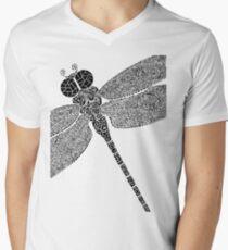Dragon Fly Doodled Men's V-Neck T-Shirt