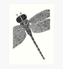 Dragon Fly Doodled Art Print